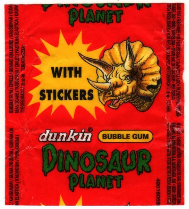 Обертка жвачки планета динозавров